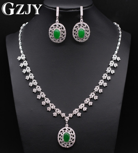 GZJY Gorgeous Wedding Party Jewelry Sets White Gold Color Green Stone&AAA Zircon Round Necklace Earring Sets For Women gzjy gorgeous wedding jewelry sets multicolor zircon necklace ring bracelet earring gold color for women wedding birthday gift