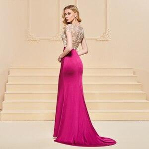 Image 4 - Vestido de noche de sirena, mangas cortas elegantes, sin tirantes, largo hasta el suelo, con cuentas, para fiesta de boda, formal