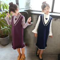 Clothes Set For Girls 2018 Long Sleeve Dress + Sweater Vest Suit Toddler Girl Clothing Set Back To School Outfit 9 10 12 13 Year
