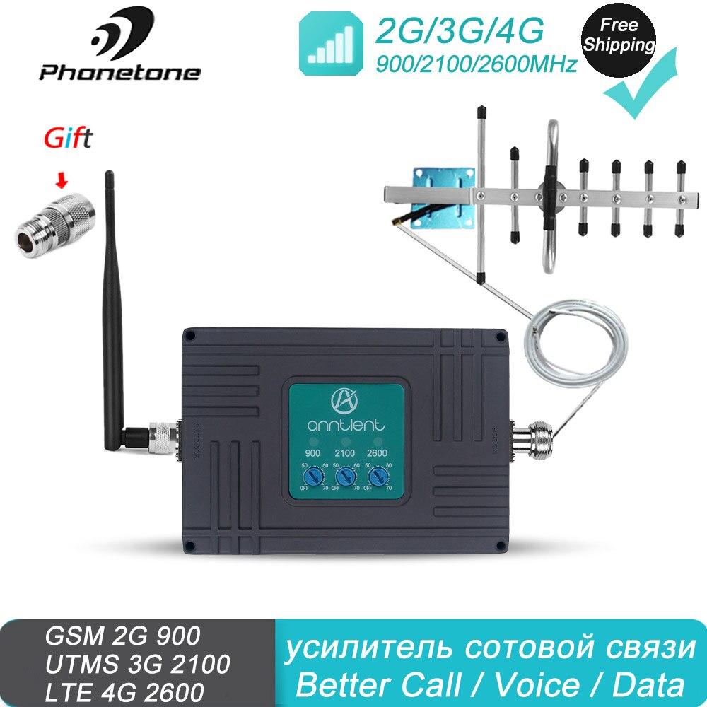Amplificateur de Signal 2G 3G 4G 900/2100/2600MHz 70dB Kit Répéteur Bande 8 /1 /7 GSM répéteur augmentent le Les données Voix Signal pour Home/Office use