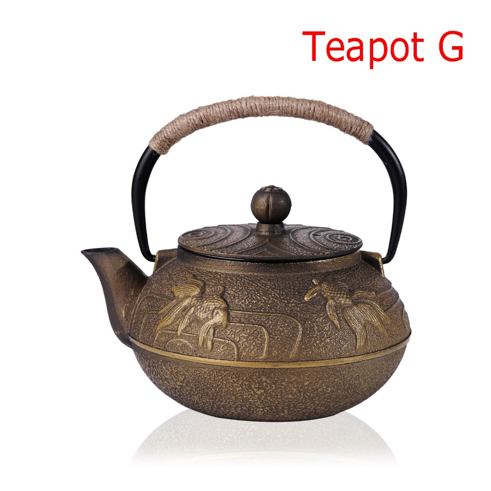 New 7 Chioces Cast Iron Teapot Set Japanese Tea Pot Tetsubin Kettle Enamel 900ml Kung Fu Infusers Metal Net Filter Cooking Tools 19