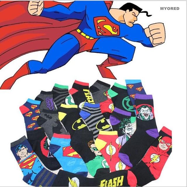MYORED 10 unids = 5 par = 1 lote de dibujos animados Superman Batman superhéroes invisibles calcetines de algodón de verano masculina corta unisex deslizadores del calcetín del tobillo