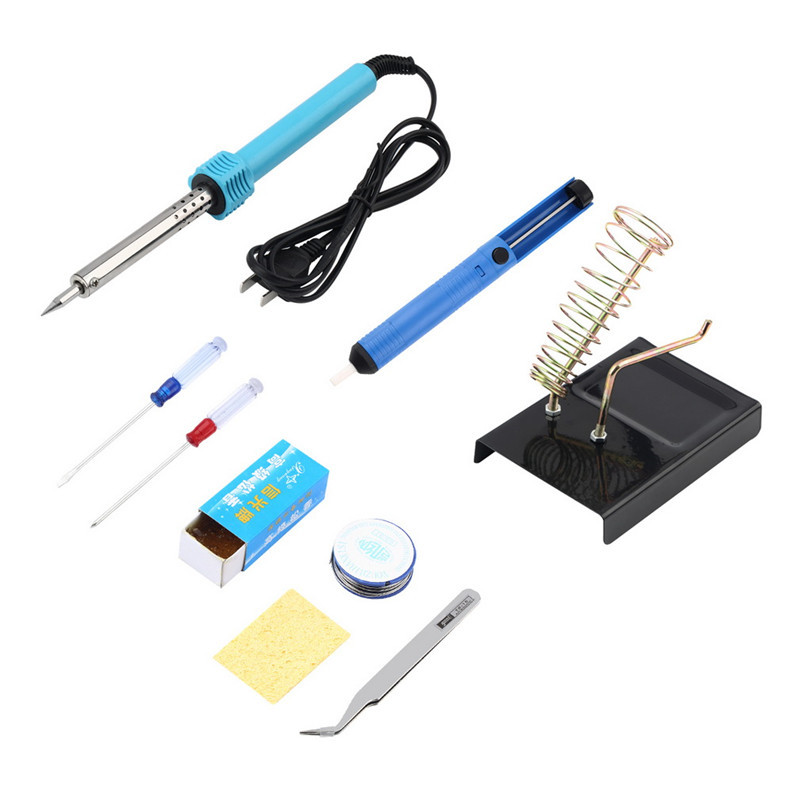 Hot Worldwide 1pc 9 in 1 Electric Solder Tool Kit Set With Iron Stand Desolder Pump Tweezer 60W Discount Teaching Resources