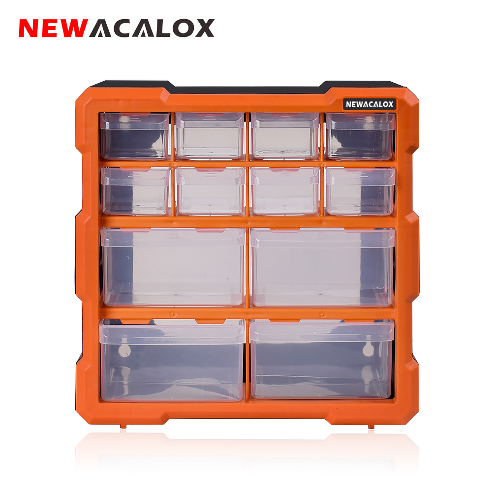 NEWACALOX Tool Organizers 2 22PC Drawer Tool Box Wall Mount Hardware Plastic Tool Case Storage Box Multi function Repair Toolbox