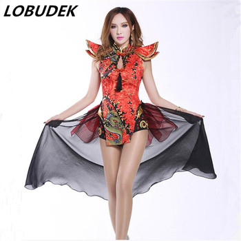 2016 new sexy bodysuit Ds costume vintage Chinese style sexy dj female singer performance wear twirled clothing dancer show bar