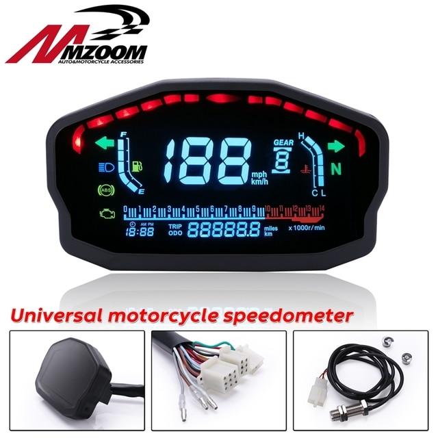 Đa Năng Xe Máy LED LCD Đo Tốc Độ Kỹ Thuật Số Đồng Hồ Đo Đèn Nền Cho Năm 1,2,4 Bình Cho Xe BMW Honda Ducati Kawasaki Yamaha