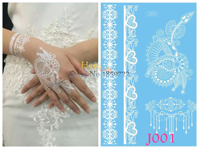 1 Pc Waterproof Putih Henna Tatoo Tangan Lengan Bunga Renda Gelang