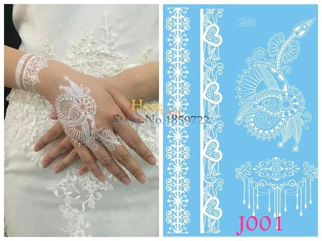 Mehndi Lace Tattoo : Pc waterproof white henna tatoo hand arm flower fake tattoo