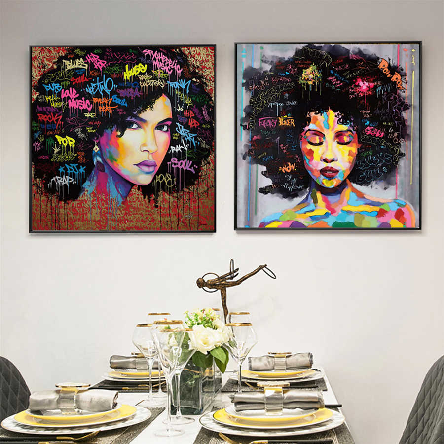 808834a26b3 Modern Pop Art Canvas Painting Explosive Afro Hairstyle African Woman  Posters and Prints Canvas Art Wall