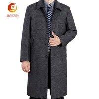 겨울 새로운 패션 울 남자 클래식 코트 긴 섹션 두꺼운 남성 겨울 파카 캐주얼 따뜻한 비즈니스 신사 코트 크기 5XL