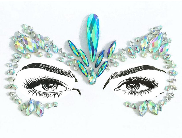 Adhesive Face Gems Rhinestone Temporary Tattoo Jewels music Festival Party  Body Glitter Stickers Flash Temporary Tattoos 0e7a2eecebf6