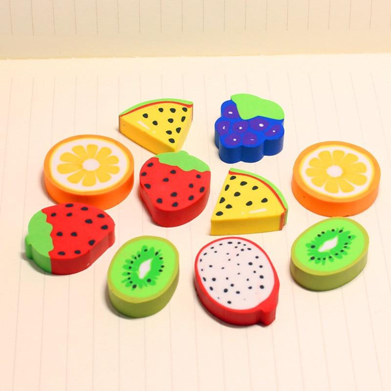 Coloffice 6PCS/Set Fruit Series Eraser Student  Strawberry Watermelon Eraser Fantastic Rubber Office School Supplies
