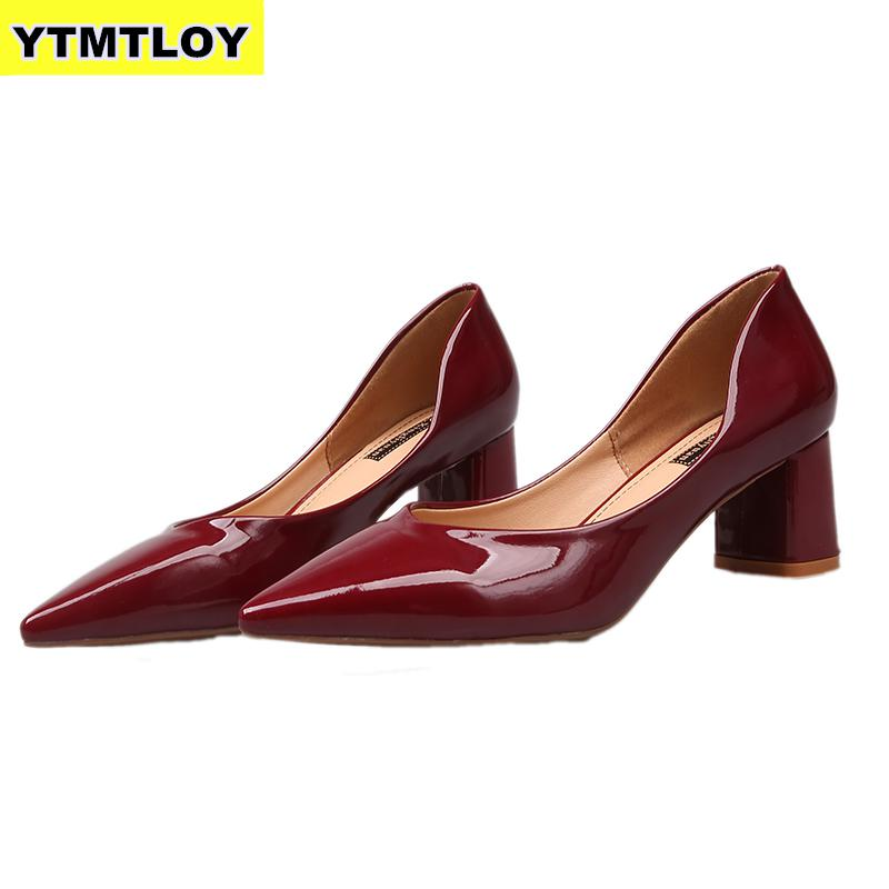 New Women Pumps Black High Heels Lady Patent Leather Thick With Autumn Pointed Single Shoes Female Sandals Luxury  Square Heels