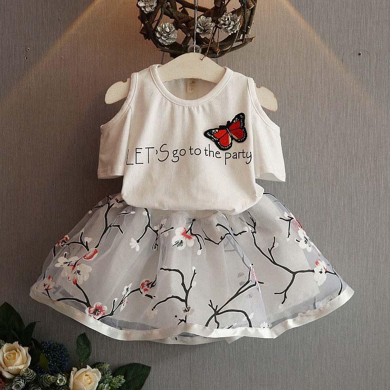 2 unids niños bebé vestido Ropa femenina de bebé camiseta + falda conjunto  verano Tutu vestido trajes Lot hb456 fe1c5a2cf8e5
