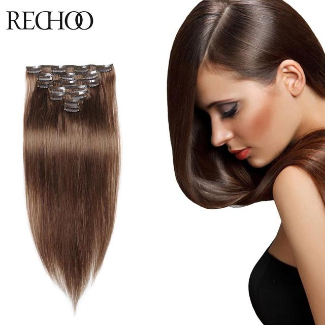 200g Brazilian Clip In Remi Hair Straight Highlighted Clip In Human