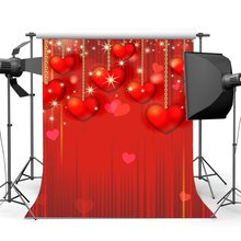 Telón de fondo del Día de San Valentín String Red Sweet Hearts Bokeh purpurina puntos romántico boda fiesta decoración fotografía fondo