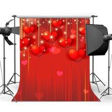 Valentijnsdag Achtergrond String Rode Zoete Harten Bokeh Glitter Vlekken Romantische Bruiloft Decoratie Fotografie Achtergrond