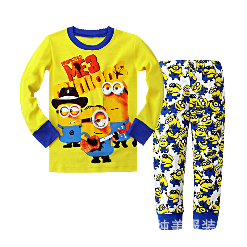 Syue Moon Girls Pajamas Sets 2017 Kids Minions Pyjamas Children 100%cotton Sleepwear Baby Boy Homewear Nightwear Clothes