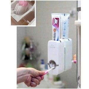 Image 5 - Ucuz banyo otomatik diş macunu dağıtıcı diş macunu sıkacağı duvar macun monte diş fırçası tutucu banyo aksesuarları