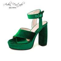 2017 Summer Shoes For Woman Velvet Sandals 12cm Extreme High Heels Plus Size 12 Sexey Platform