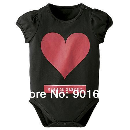 Red Heart Baby Boy Girl Short Sleeved Bodysuit Onesie 6-24 Months Black