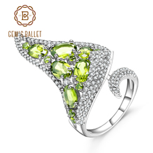 GEMS BALLET 4.43Ct Natural Peridot Gemstone Open Finger Ring 925 Sterling Sliver Vintage Gothic Punk Ring For Women Jewelry