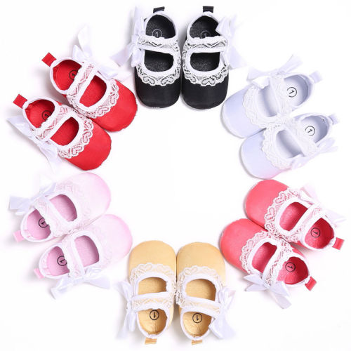 0-18M Cute Baby Infant Kids Girl Soft Sole Crib Shoes Princess Toddler Newborn Girls Bowknot Lace Shoes