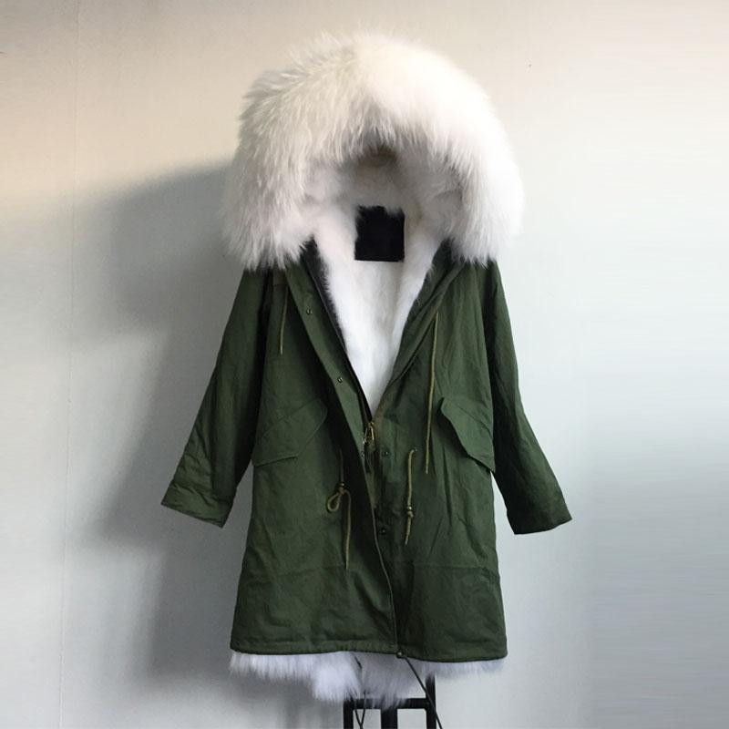 Hiver neige blanc long cheveux fourrure de renard veste longue version grande fourrure de raton laveur capuche veste