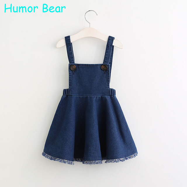 Humor Bear Girls Denim Dress 2017 Summer Clothing Spring Casual Dress Kids Clothes Princess Dress Girls Clothes