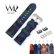 Rolamy 22 24mm Camo Green Blue Black Waterproof Silicone Rubber Replacement Watch Band Loops Strap For Panerai Luminor