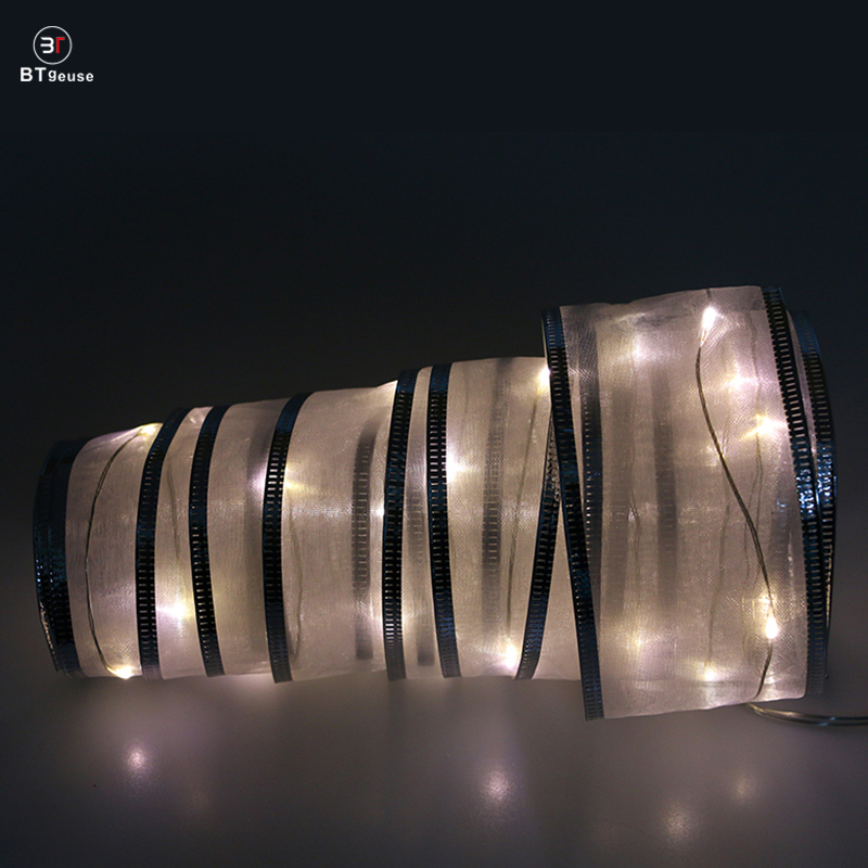 BTgeuse White Ribbon Fairy String Lights for Wedding Christmas and Room Decoration 2M White Led String Light with Remote