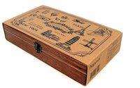 Wholesale Wood Travel Memories Stamp Gift Stamp Wooden Box Multi Purpose Decorative DIY Travel Stamp 17pcs