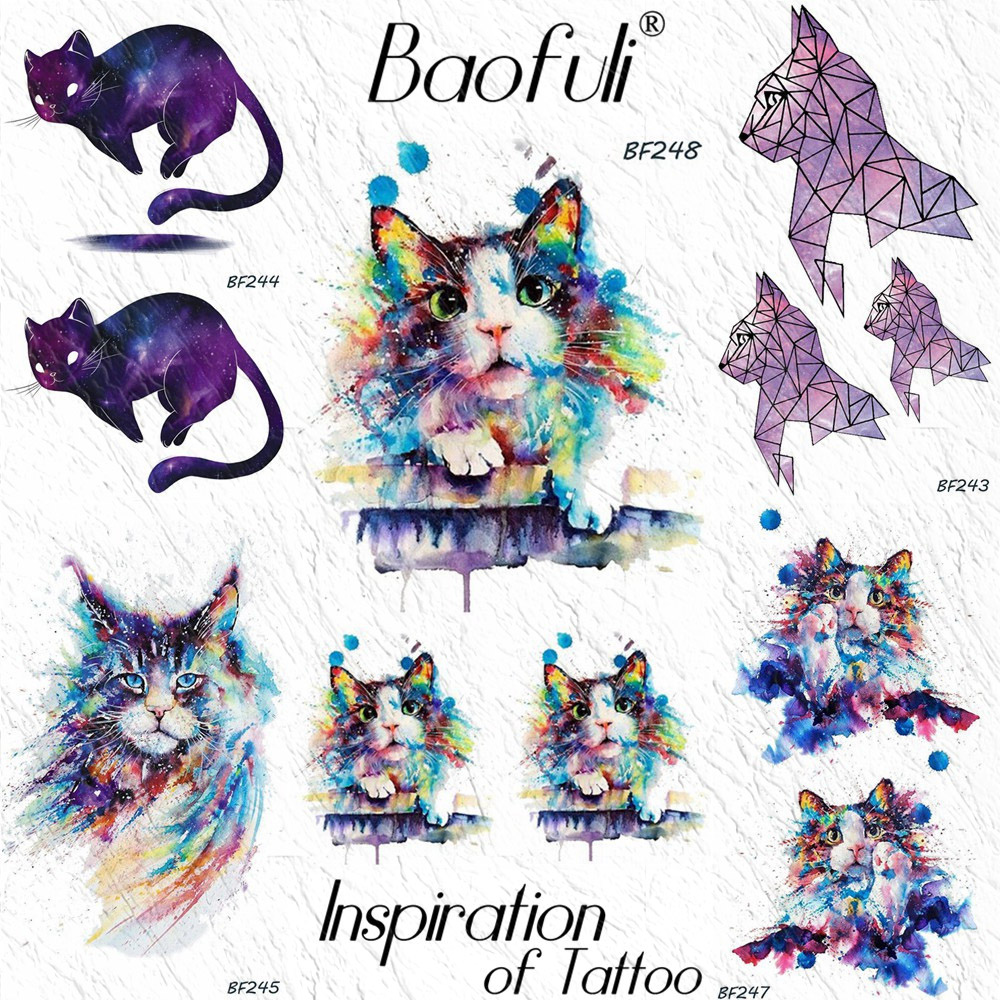 Funny Kitty Cat DIY Colorful Temporary Tattoos For Women Girls Body Art Arm Watercolor Fake Tattoo Waterproof Kids Tatoo Sticker