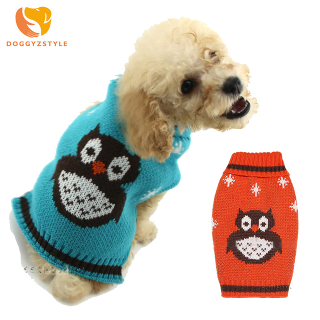 Halloween búho perro suéter caliente perros pequeños gatos punto suéter invierno mascota cachorro ropa para chihuahua abrigo de peluche DOGGYZSTYLE