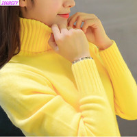 2018 New Autumn Winter Women Knitted Sweaters Pullovers Turtleneck Long Sleeve Solid Color Slim Elastic Short
