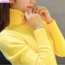 2018 nowy jesień zima kobiety swetry z dzianiny swetry z golfem z długim rękawem jednolity kolor szczupła elastyczna krótki sweter kobiety K861 tanie tanio IOQRCJV Regularne Female pullovers sweater Standardowych Poliester Mieszkanie dzianiny Wełna Akrylowe Pełna Brak Stałe
