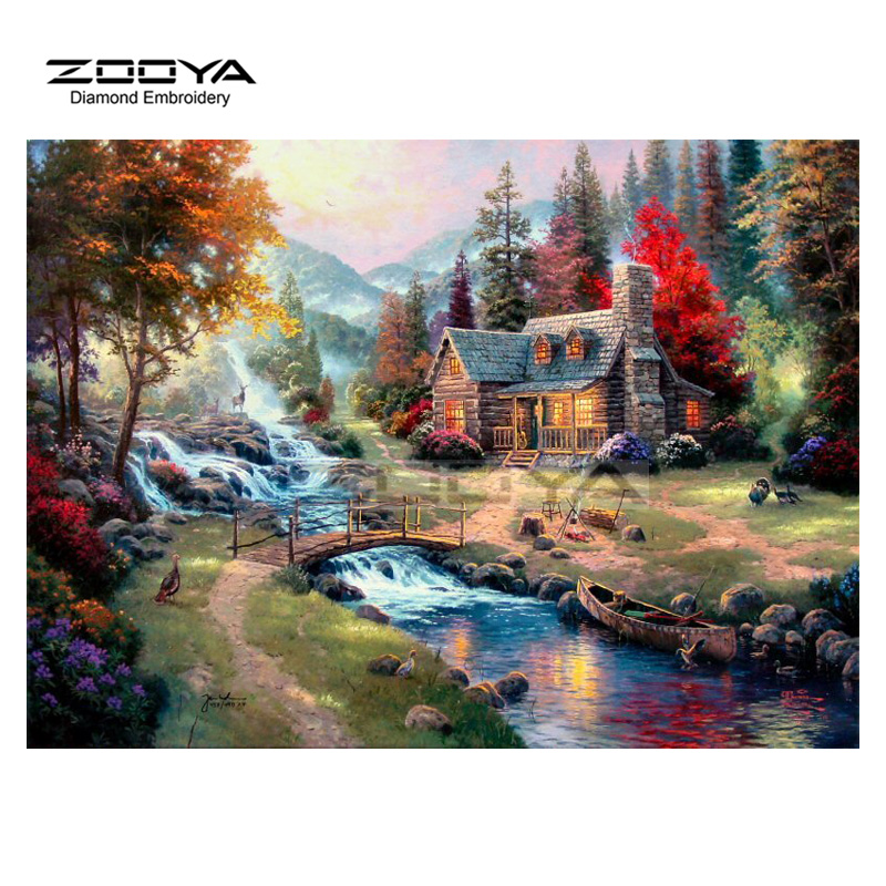 ZOOYA Diamond Embroidery Diamond Painting Landscape Bridge Water House Diamond Painting Cross Stitch Rhinestone Mosaic BJ1679