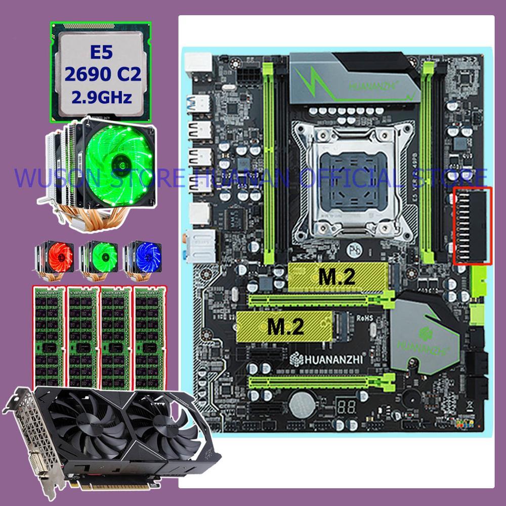 Paquet de carte mère HUANANZHI X79 Pro carte mère double M.2 slot carte vidéo GTX1050Ti CPU Xeon E5 2690 2.9GHz RAM 32G (4*8G) RECC