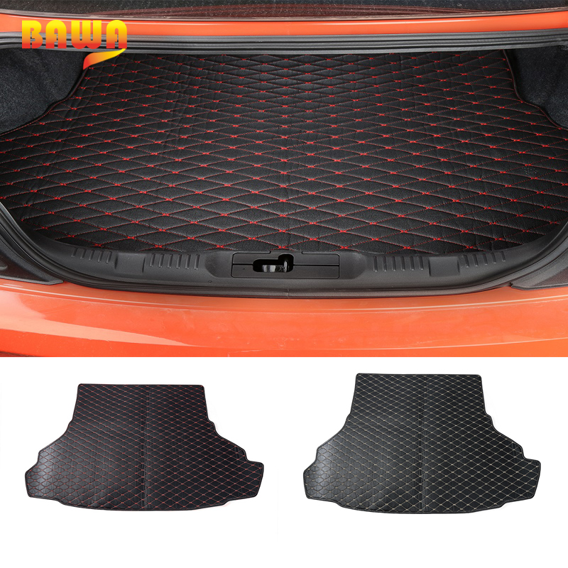 HANGUP Leather Car Trunk Cargo Liner Foot Mats Pad Interior Decoration Stickers For Ford Mustang 2015 Up Car Styling цена