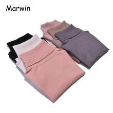 Marwin 2018 Autumn Winter Thick Turn-down Collar High Elasticity Casual Pullovers Female Thick Turtleneck Knitted Women Sweater
