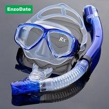 Equipo de Buceo Kit óptico Miopía Snorkel Set, Fuerza diferente para Cada Ojo, miopía Máscara de Buceo, Top seco y Templado Gafas
