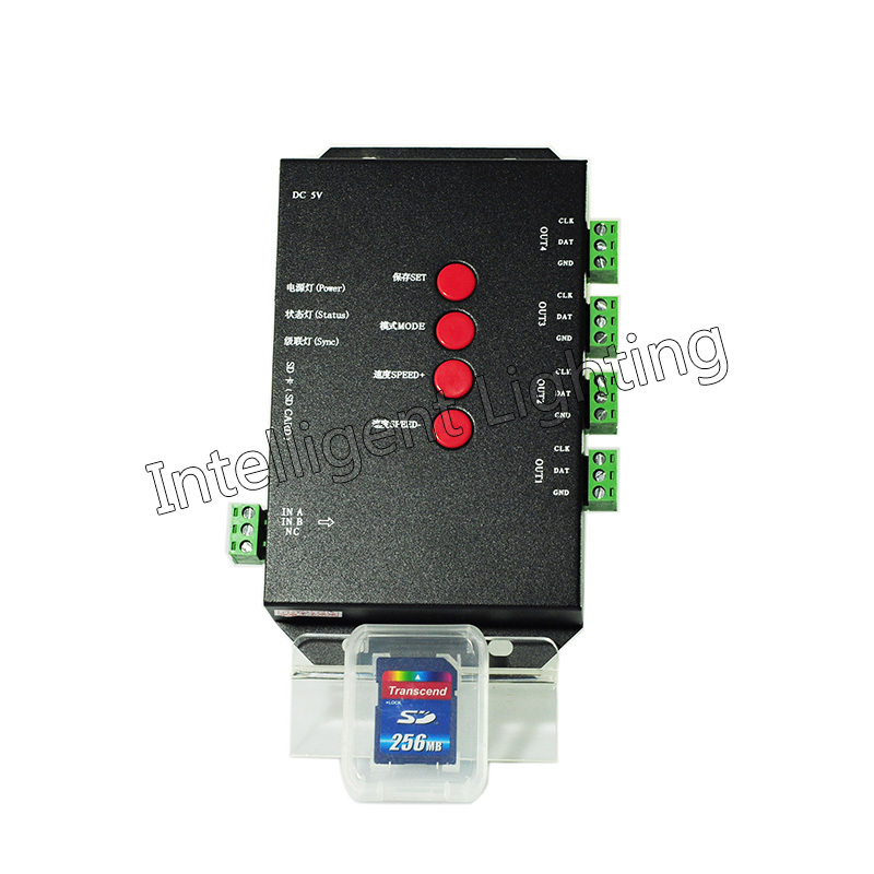 T-4000S controller SD card led controller T4000 with max 1024 pixel every port for WS2811 WS2801 WS2803 LP6803