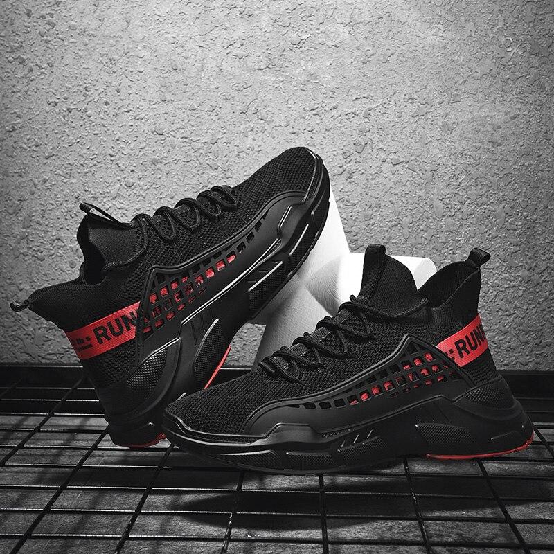 Surom preto tênis masculino malha respirável tênis de corrida dos homens sapatos de desporto ao ar livre rendas até antiderrapante tênis adulto zapatos hombre
