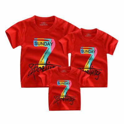Combinando roupas de menina bebê camiseta manga curta mãe filha roupas família filho pai Roupas meninos da criança top branco azul