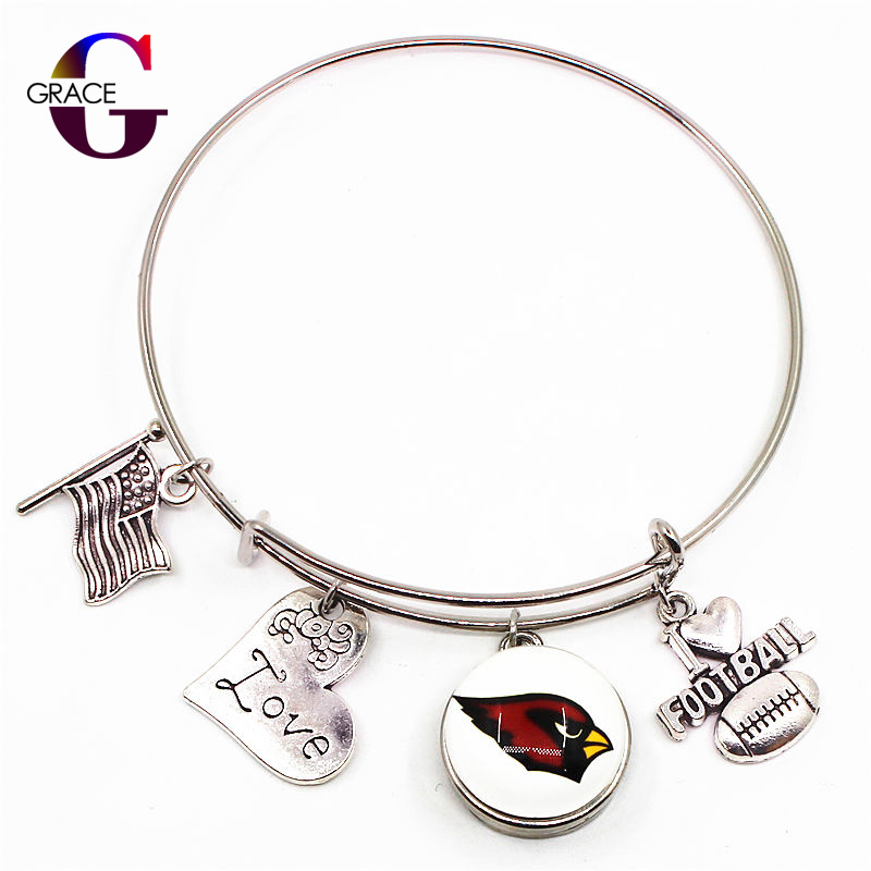 10pcs/lot Silver Heart Charms Adjustable Expandable Football Sport Bracelet&Bangle 18mm Arizona Cardinals Glass Snap Buttons