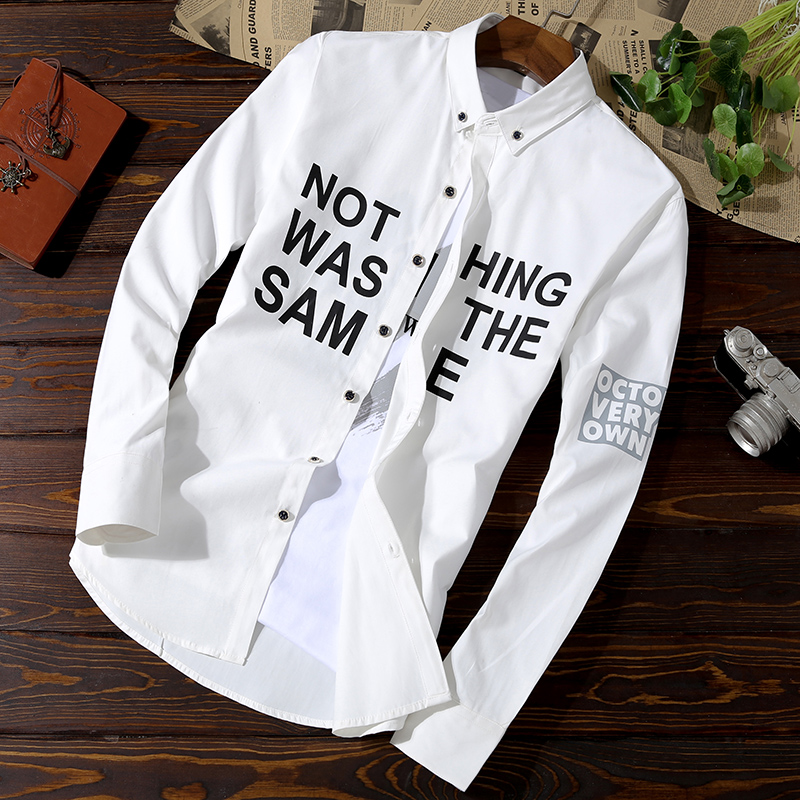 Long-sleeved shirt, spring and autumn leisure net, red-inch self-cultivation trend, handsome men's shirt 3