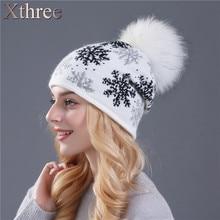 XTHREE real mink pom poms pele de coelho malha chapéu de lã Skullies gorros chapéu de inverno para as mulheres meninas chapéu feminino chapéu