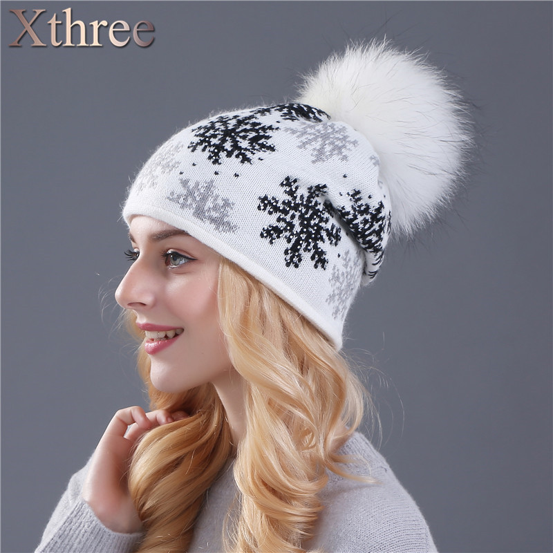 XTHREE real mink pom poms wool rabbit fur knitted hat Skullies winter hat for women girls