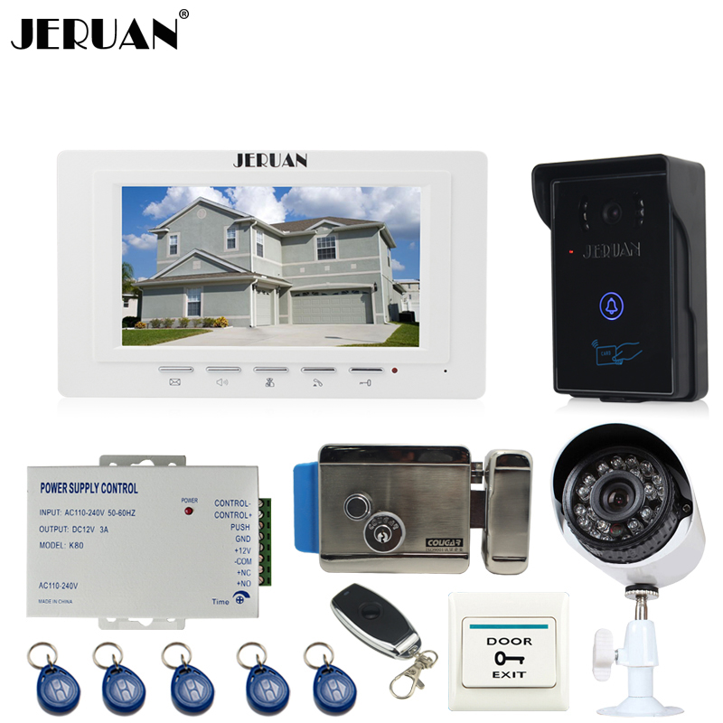 JERUAN perfect 7`` TFT video door phone intercom System monitor brand new RFID waterproof Touch Camera+700TVL Analog Camera jeruan home 7 video door phone intercom system kit rfid waterproof touch key password keypad camera remote control in stock