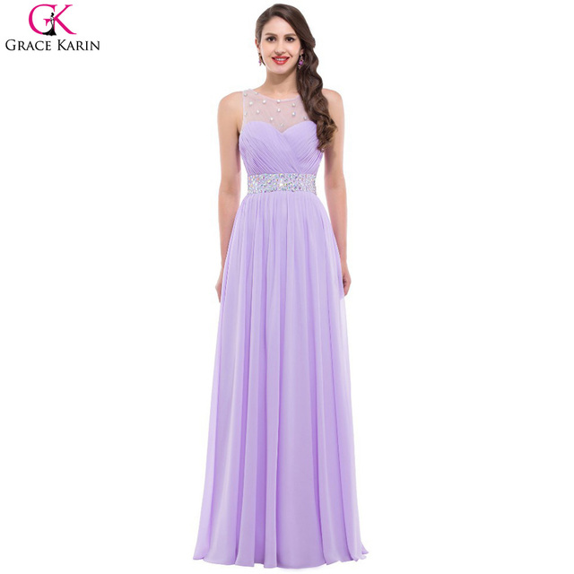 b7106189e30a Long Purple Bridesmaid Dresses 2017 Grace Karin Backless Chiffon Sequin  Beads Elegant Gowns Formal Dress Pink